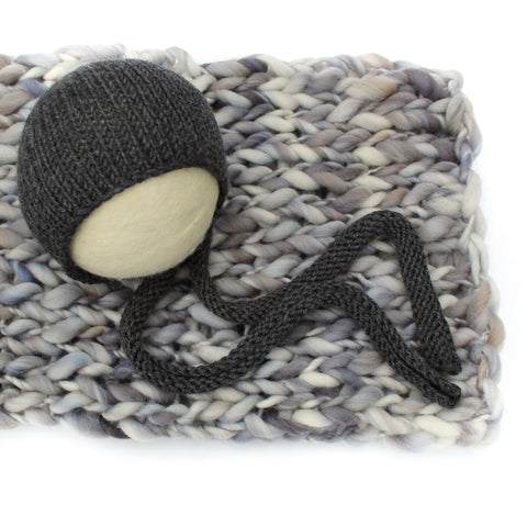 Grey Newborn Set - Knit Photography Props by Double the Stitches