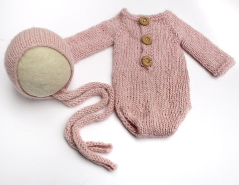 Newborn Romper and Knitted Ties Bonnet - Soft Pink Baby Alpaca - Ready to Ship