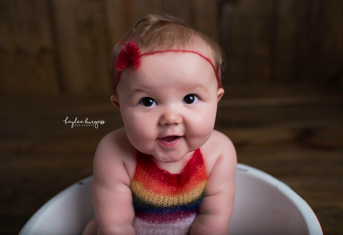 Rainbow Baby Mohair Sitter Romper - Knit Photography Props by Double the Stitches