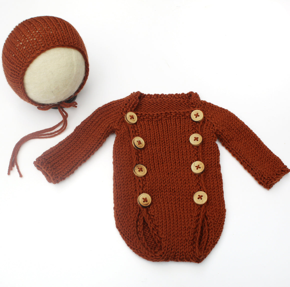 Rust Button Front Newborn Romper & Bonnet Set - Knit Photography Props by Double the Stitches