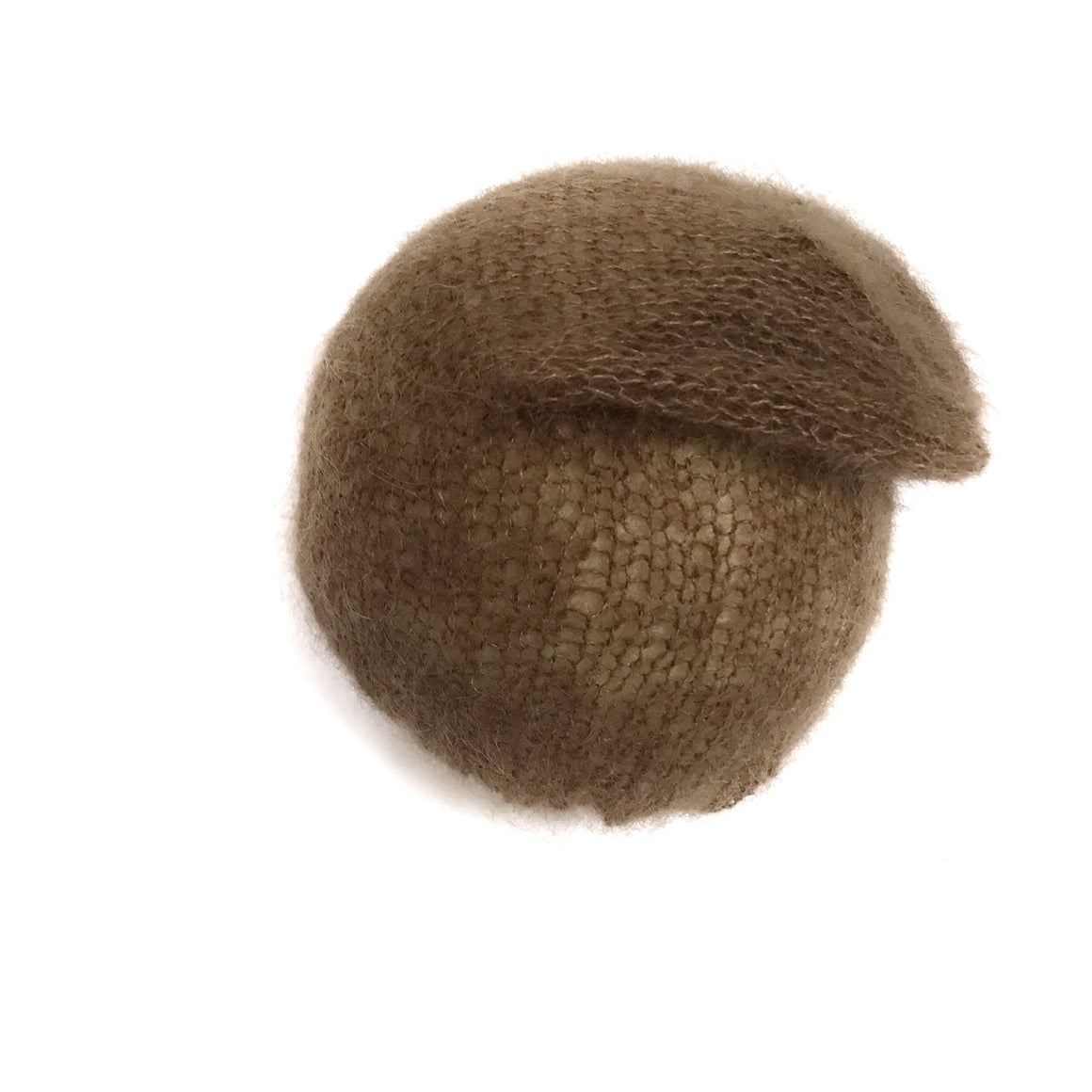 Brown Mohair Slouchy Hat - Newborn - Knit Photography Props by Double the Stitches