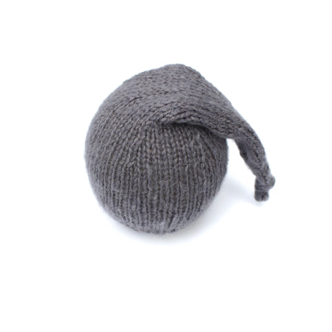 Grey Alpaca Newborn Sleepy Hat - Knit Photography Props by Double the Stitches