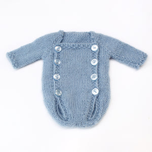 Newborn Button Front Romper - Light Blue - Knit Photography Props by Double the Stitches