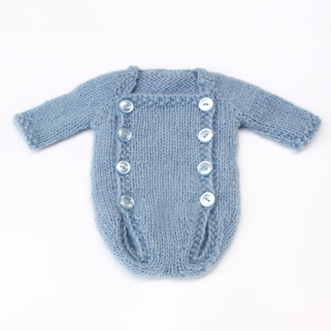 Light Blue Alpaca Button Romper - Knit Photography Props by Double the Stitches