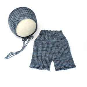 Little Boy Blue - Bonnet and Shorties - Newborn Photo Prop Set - Knit Photography Props by Double the Stitches