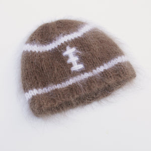 Angora Football Beanie - Newborn Size - Ready to Ship - Knit Photography Props by Double the Stitches