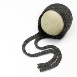Charcoal Grey Knitted Ties Newborn Bonnet - Knit Photography Props by Double the Stitches