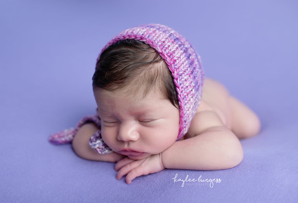 Pink Purple Watercolor Knitted Ties Newborn Bonnet - Knit Photography Props by Double the Stitches