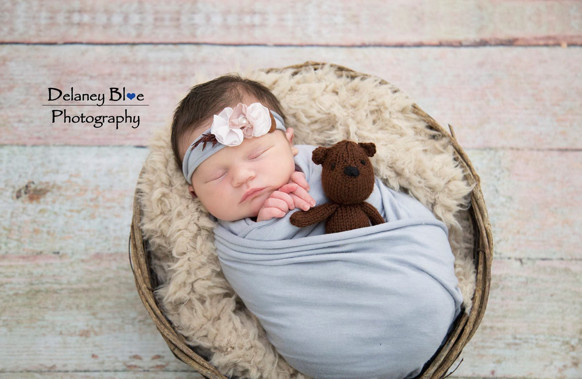 Mini Teddy Bear - Knitted Teddy Bear Stuffie - Newborn Photo Prop - Knit Photography Props by Double the Stitches