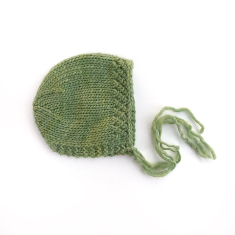 Greenery Merino Bonnet - Ready to Ship Props - Newborn Photography Prop - Knit Photography Props by Double the Stitches