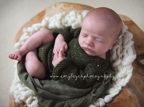 Hunter Green Long Sleeve Romper - Newborn Photo Prop - Knit Photography Props by Double the Stitches