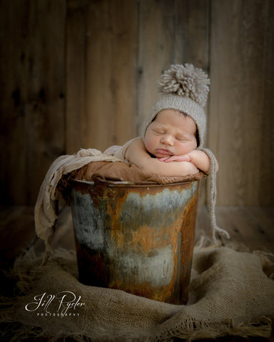 Newborn Bonnet with Pom Pom - Newborn Photography Prop - Double the Stitches