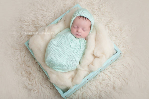 Newborn Swaddle Sack and Bonnet Set - Mint Green