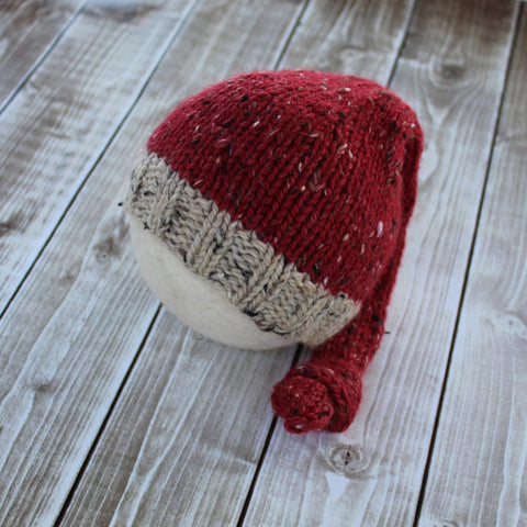 Tweed Newborn Santa Sleepy Cap by Double the Stitches