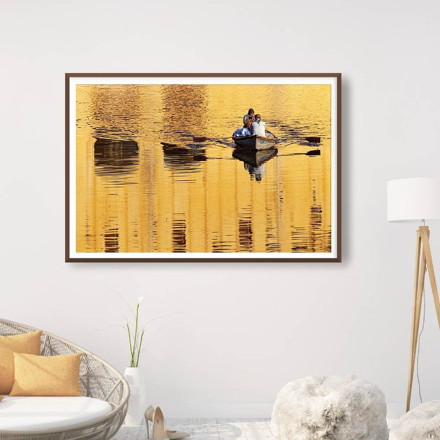 Fine art photographic print by Jonathan and Angela Scott, depicting a fisherman rowing at the Amber Fort in Jaipur, Rajasthan.