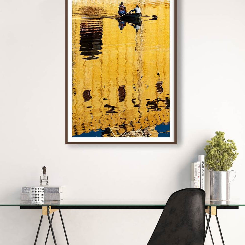 Fine art photographic print by Jonathan and Angela Scott, depicting two fisherman rowing at Amber Fort in India.