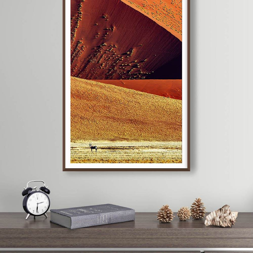 Fine art photographic print by Jonathan and Angela Scott, depicting a regal oryx antelope in Sossusvlei, Namibia.