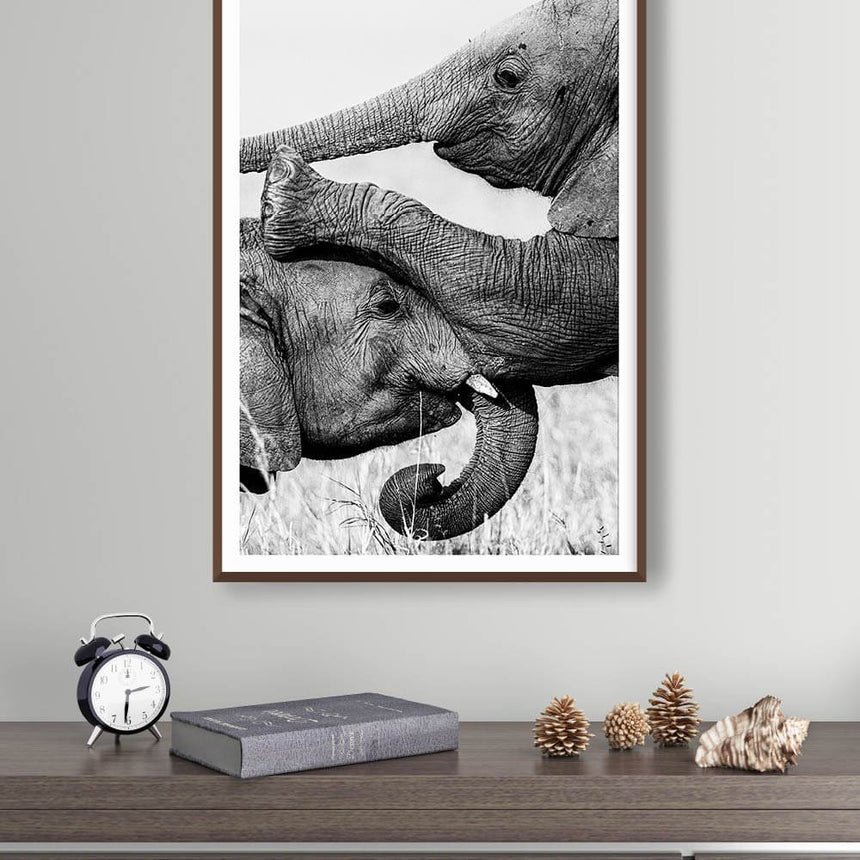 Fine art photographic print by Jonathan and Angela Scott, depicting two young elephants playing in Maasai Mara, Kenya.