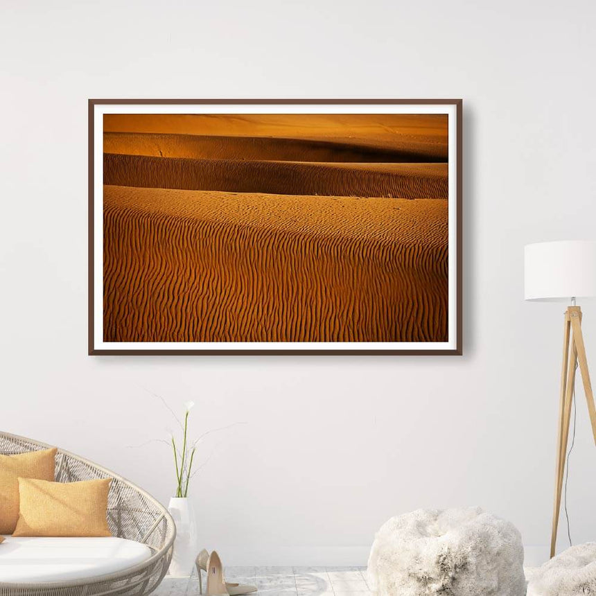 Fine art photographic print by Jonathan and Angela Scott, depicting ripples of sand in the dunes of Sossusvlei, Namibia.