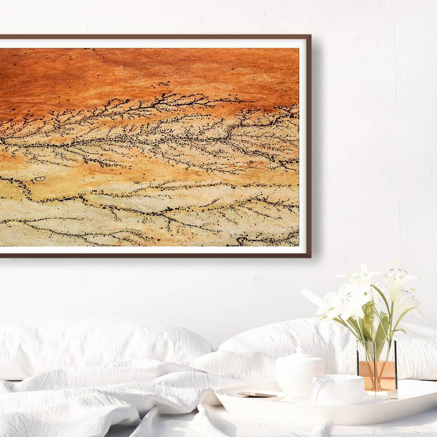 Fine art photographic print by Jonathan and Angela Scott, depicting intricate sand tributaries in Sossusvlei, Namibia.