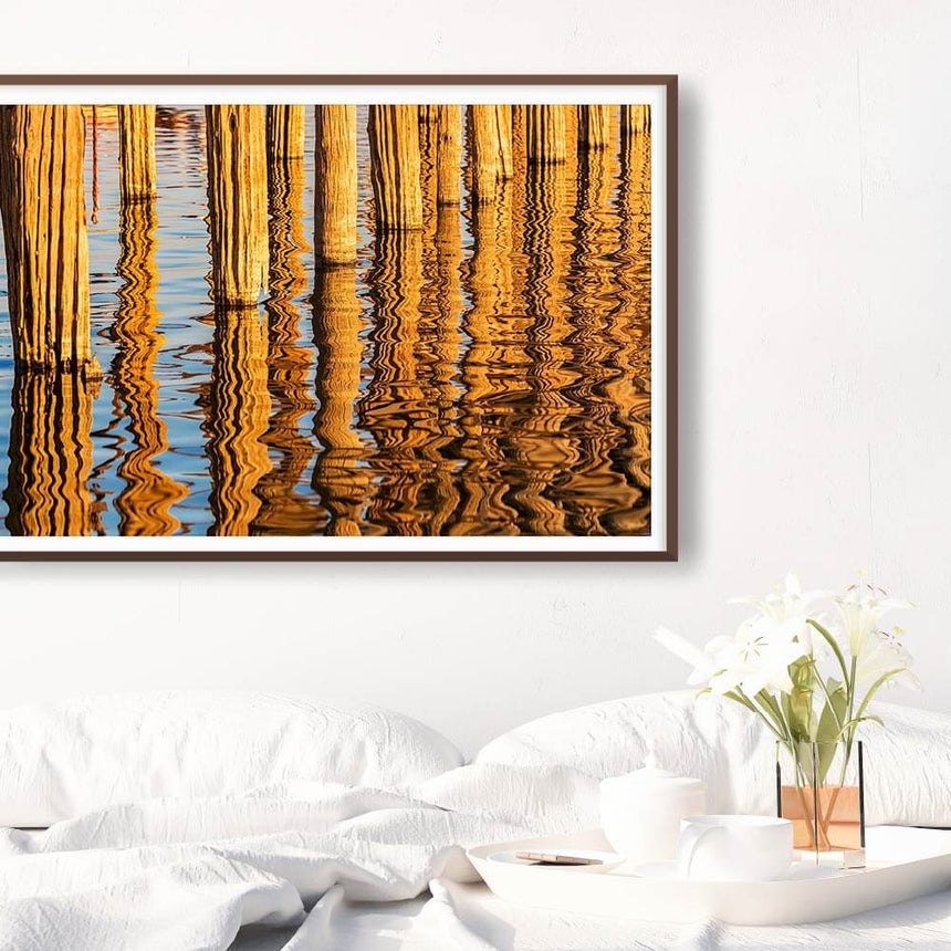 Fine art photographic print by Jonathan and Angela Scott, depicting stunning reflections in the water in Rangoon, Myanmar.