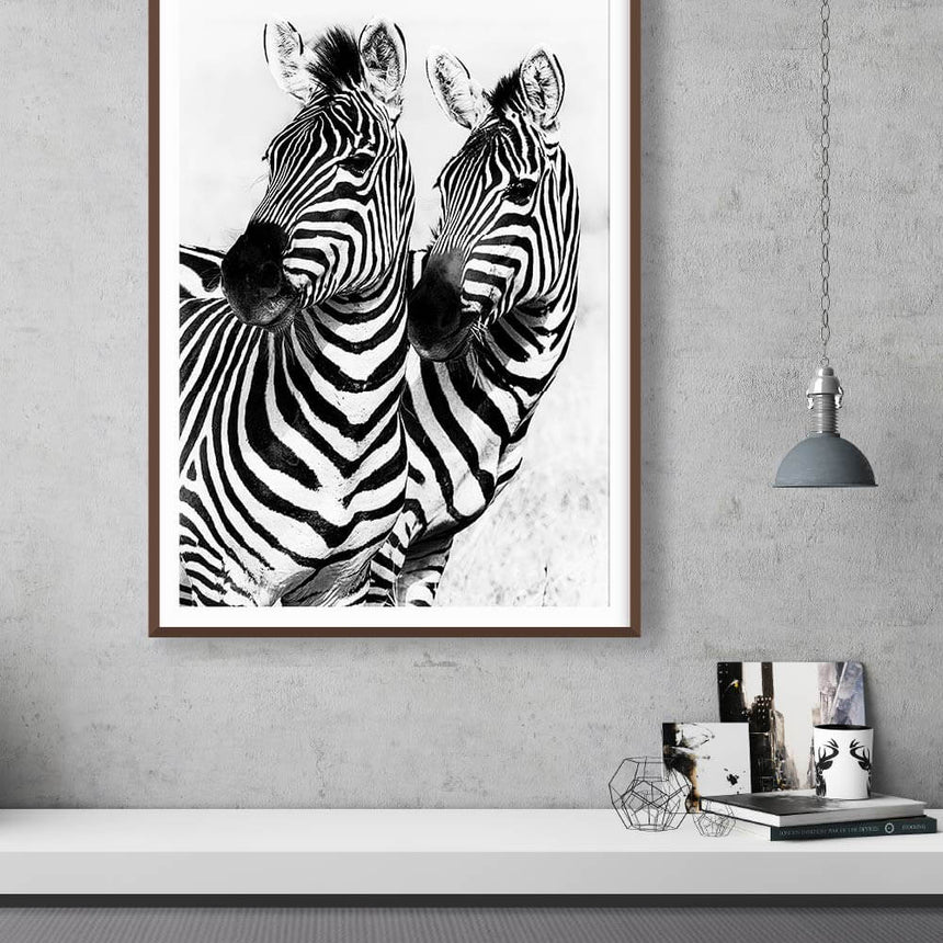 Fine art photographic print by Jonathan and Angela Scott, depicting two stunning zebras in Maasai Mara, Kenya.