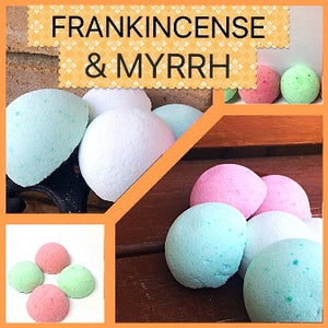 FRANKINCENSE & MYRRH SHOWER STEAMERS & BATH BOMBS FOR WOMEN
