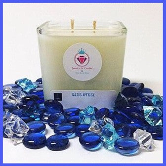 BLUE STEEL RING MANDLE - Jewelry Jar Candles