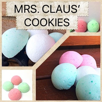 MRS. CLAUS' COOKIES SHOWER STEAMERS & BATH BOMBS FOR WOMEN