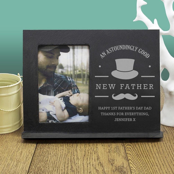 An Astoundingly Good New Father Personalised Slate Frame