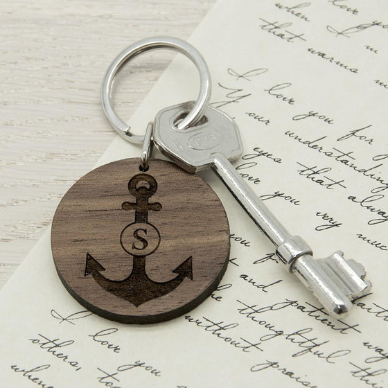 Anchor and Initial Round Wooden Keyring, Keyrings - Neon Cherry