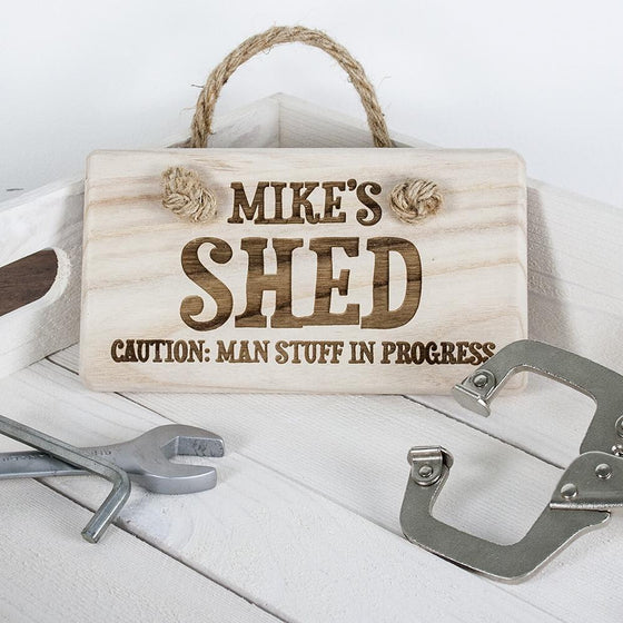 CAUTION: MAN STUFF Personalised Wooden Sign, Signs - Neon Cherry