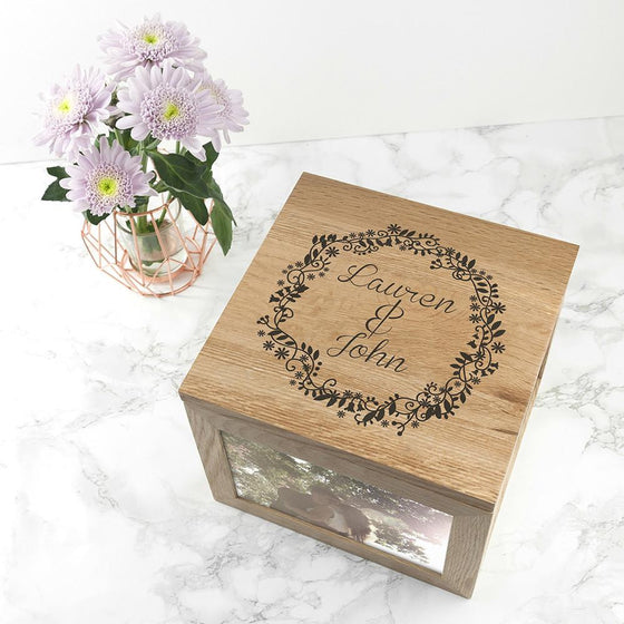 Couples' Oak Photo Keepsake Box with Floral Frame
