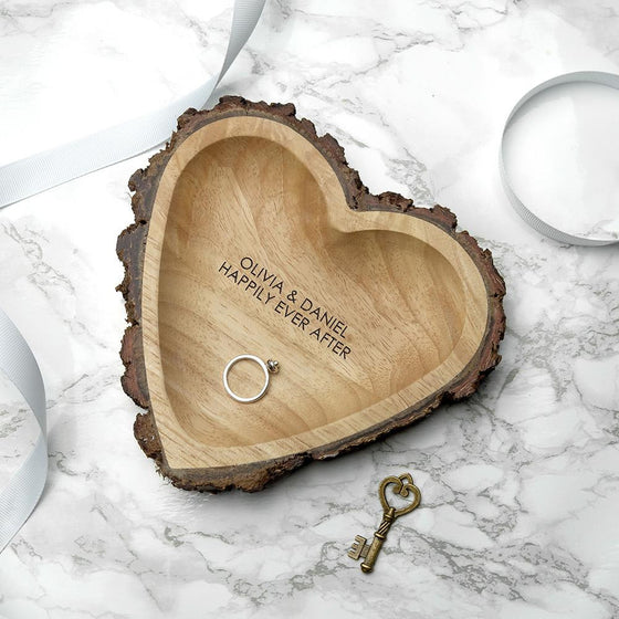 Engraved Rustic Wooden Heart Dish