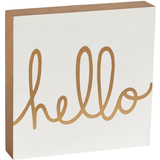 Hello White & Gold Block Sign