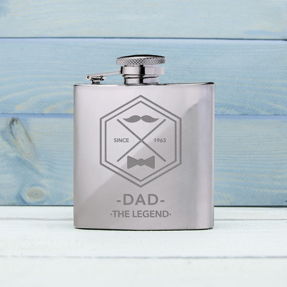 Legend Dad's Silver Hip Flask, Hip Flasks - Neon Cherry