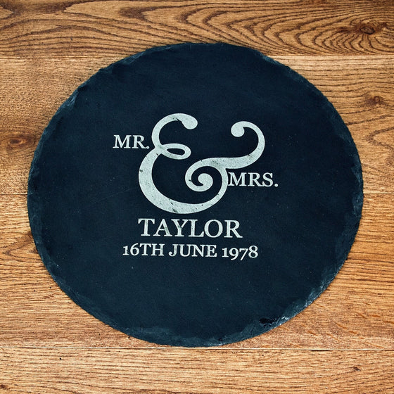 Mr and Mrs Romantic Ampersand Round Slate Cheese Board, Cheeseboards - Neon Cherry