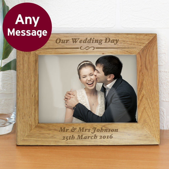 Personalised Any Message Landscape Wooden Photo Frame