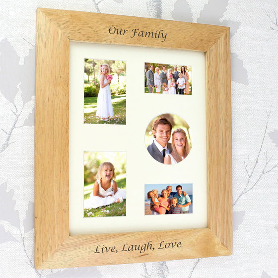 Personalised Any Message Portrait Wooden Photo Frame - 10x8