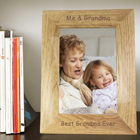 Personalised Any Message Portrait Wooden Photo Frame - 5x7