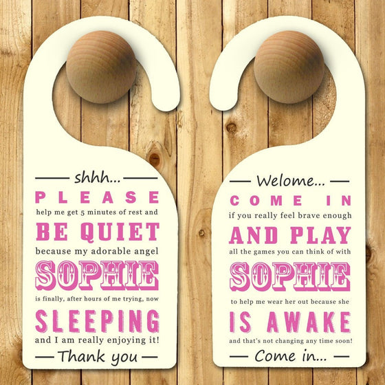 Personalised Baby Door Hanger in Pink, Door Hangers - Neon Cherry