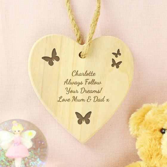 Personalised Butterfly Chunky Wooden Heart Decoration