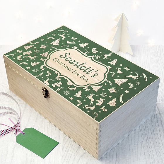 Personalised Christmas Eve Box With Festive Pattern, Christmas Eve Boxes - Neon Cherry