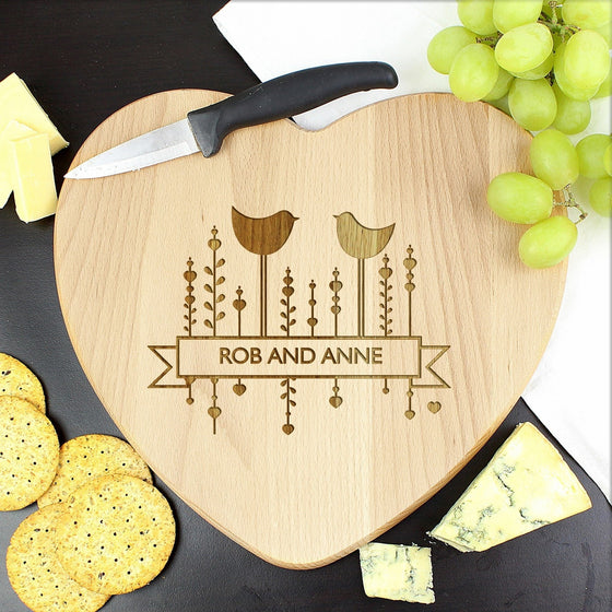 Personalised Decorative Bird Heart Cheeseboard