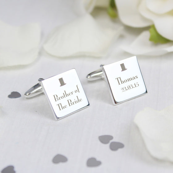 Personalised Decorative Wedding Role Square Cufflinks