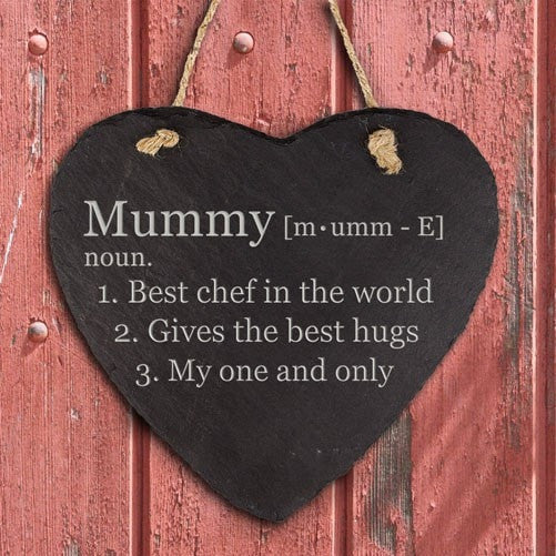 Personalised Definition of Mummy Heart Hanging Slate Keepsake, Hanging Hearts - Neon Cherry