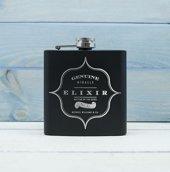 Personalised Elixir Vintage Hip Flask