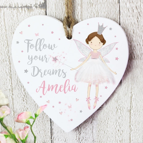 Personalised Fairy Princess Wooden Hanging Heart