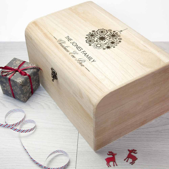 Personalised Family Christmas Eve Chest With Decorative Bauble Design, Christmas Eve Boxes - Neon Cherry