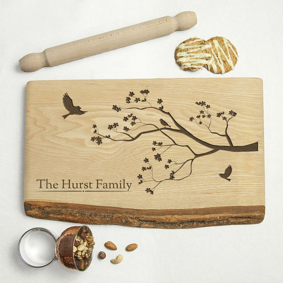 Personalised Family Tree Rustic Wood Serving Board, Serving Boards - Neon Cherry